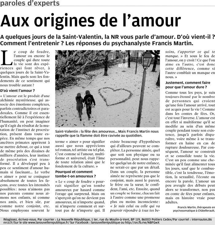 Article intitulé Aux origines de l'amour - Nouvelle République du vendredi 8 février 2013